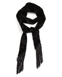 TOPSHOP | Black Jacquard Velvet Tassel Scarf | Lyst