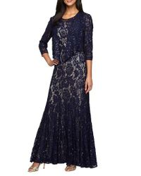 Alex Evenings | Blue Lace Gown With Jacket | Lyst