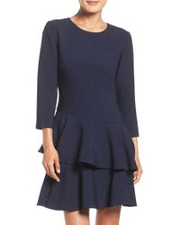 Eliza J | Blue Tiered Ruffle Knit Dress | Lyst