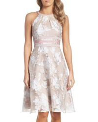 Adrianna Papell | White Print Organza Fit & Flare Dress | Lyst