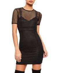 Missguided | Black Fishnet Overlay Body-con Dress | Lyst