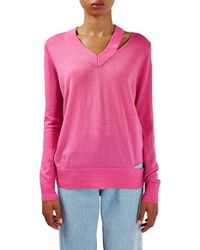 TOPSHOP - Multicolor Deconstructed Wool Blend Sweater - Lyst