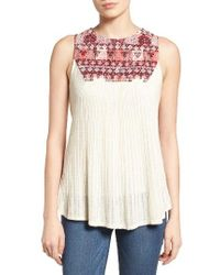 Lucky Brand | Natural Mixed Media Tank | Lyst
