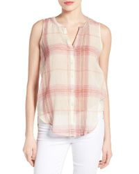 Lucky Brand | Pink Plaid Cotton Sleeveless Shirt | Lyst