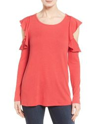 Pleione | Red Ruffle Cold Shoulder Top | Lyst