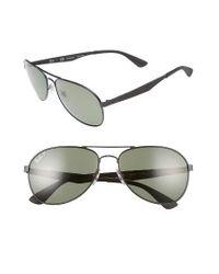 Ray-Ban | Metallic 61mm Polarized Aviator Sunglasses for Men | Lyst