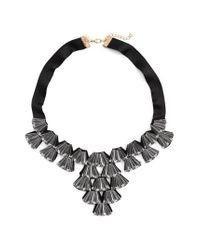 TOPSHOP - Black Crystal Fan Collar Necklace - Lyst
