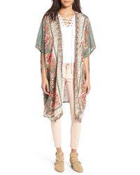 Angie - Green Print Kimono - Lyst