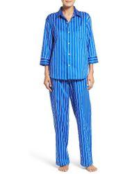 Lauren by Ralph Lauren | Blue Stripe Sateen Pajamas | Lyst