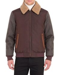 Rainforest | Brown Waxed Nylon Jacket With Faux Shearling Collar for Men | Lyst