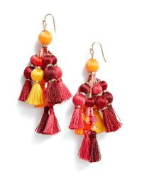 Kate Spade - Red Pretty Pom Tassel Drop Earrings - Lyst