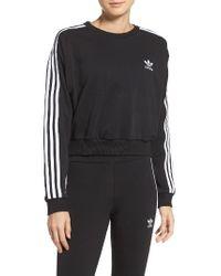 Adidas Originals   Black 3-stripes Crop Sweatshirt   Lyst