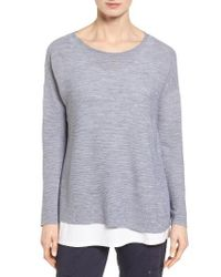 Eileen Fisher | Gray Boxy Ribbed Wool Sweater | Lyst