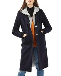 TOPSHOP | Blue Hooded Layer Wool Blend Coat | Lyst