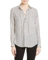 The Kooples | White Stripe Lace-up Top | Lyst