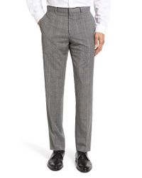 Theory | Gray Marlo Kinver Flat Front Windowpane Wool Trousers for Men | Lyst