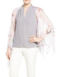 Ted Baker | Gray Floral Print Silk Cape Scarf | Lyst