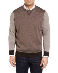 Thomas Dean - Brown Colorblock Merino Wool Sweater for Men - Lyst
