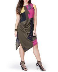Rachel Roy   Multicolor Asymmetrical Draped Dress   Lyst