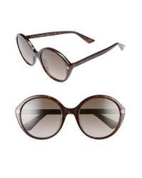 Gucci | 54mm Round Sunglasses - Havana/ Brown | Lyst