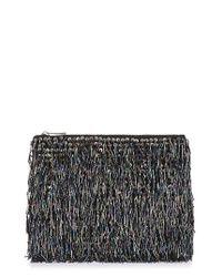 TOPSHOP | Black Bead Fringe Clutch | Lyst