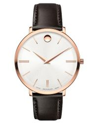 Movado | Metallic Ultra Slim Leather Strap Watch | Lyst