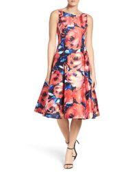 Adrianna Papell - Blue Floral Dress - Lyst