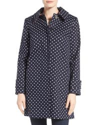 Charles Gray London   Blue Contrast Collar Detail Polka Dot Coat   Lyst