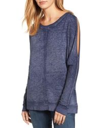 Caslon | Blue Caslon Cold Shoulder Burnout Sweatshirt | Lyst