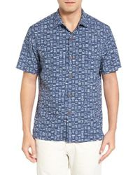 Tommy Bahama | Blue Geo Chaser Silk Blend Camp Shirt for Men | Lyst