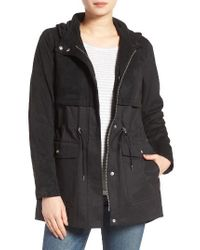 Vince Camuto | Black Mixed Media Hooded Jacket | Lyst