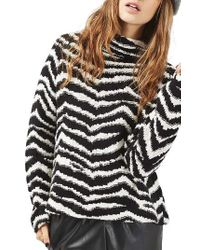 TOPSHOP | Black Zebra Funnel Neck Sweater | Lyst