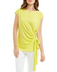 Vince Camuto | Yellow Mixed Media Tie Front Blouse | Lyst