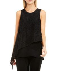 Vince Camuto   Black Lace Overlay Top   Lyst