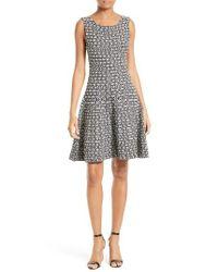 MILLY - Black Geo Jacquard Fit & Flare Dress - Lyst