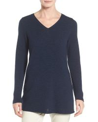 Eileen Fisher | Blue Textured Tencel Tunic Sweater | Lyst