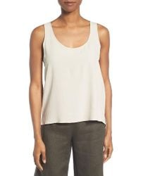 Eileen Fisher | Natural Crinkled Crepe Tencel Blend Tank | Lyst