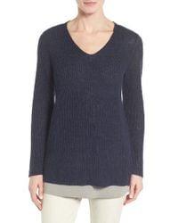 Eileen Fisher | Blue V-neck Organic Linen Sweater | Lyst