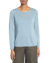 Eileen Fisher - Blue Featherweight Merino Sweater - Lyst
