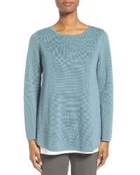 Eileen Fisher | Blue Silk & Organic Cotton Pullover | Lyst
