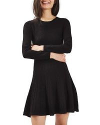 TOPSHOP   Black Ribbed Fit & Flare Dress   Lyst