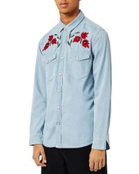 TOPMAN | Blue Embroidered Western Shirt for Men | Lyst