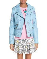 Ç x Mira Mikati | Blue Hand Painted Doodle Leather Jacket | Lyst