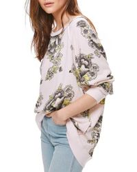 Free People | Pink Go On Get Floral Sweatshirt | Lyst
