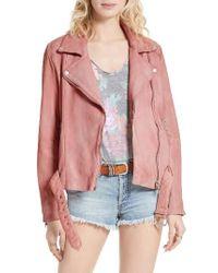 Free People | Pink Leather Moto Jacket | Lyst
