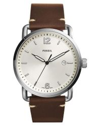 Fossil | Brown The Commuter Leather Strap Watch | Lyst