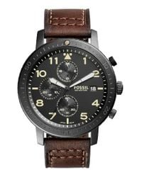 Fossil | Brown The Major Chronograph Leather Strap Watch | Lyst