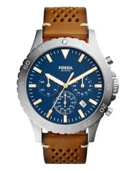 Fossil | Blue Crewmaster Chronograph Leather Strap Watch for Men | Lyst