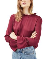 TOPSHOP | Red Ruffle Trim Top | Lyst