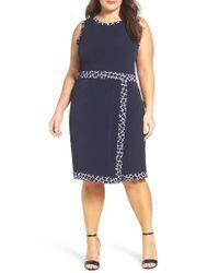 MICHAEL Michael Kors | Blue Contrast Border Jersey Faux Wrap Dress | Lyst